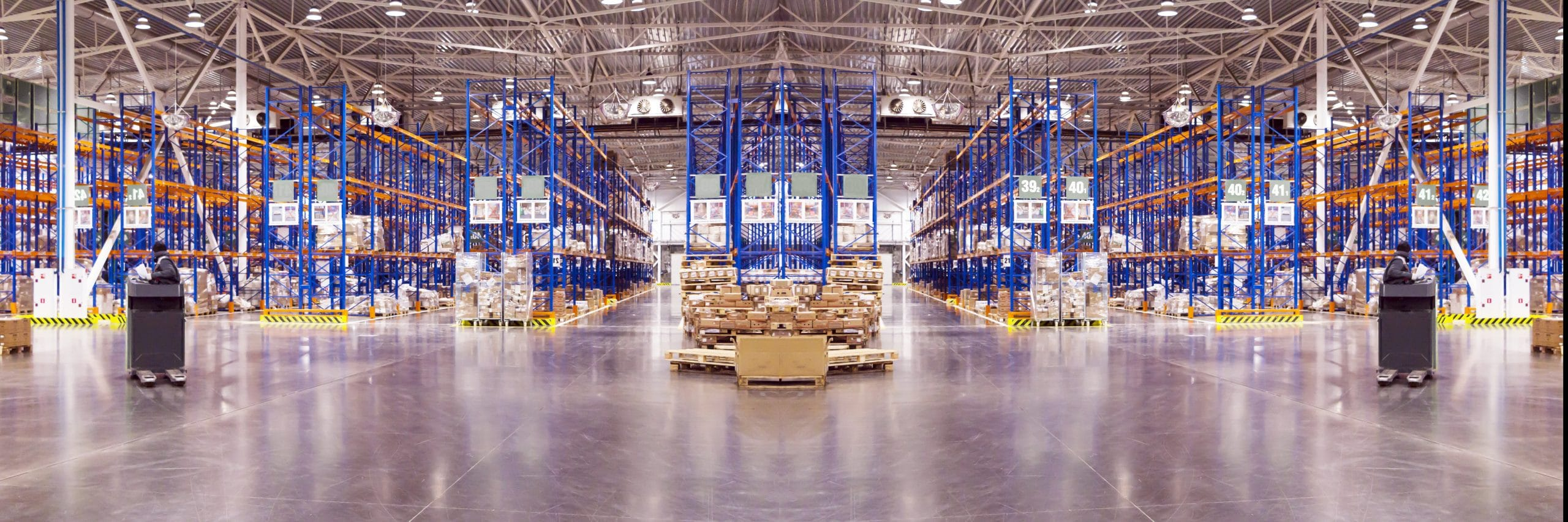 Typical storage, warehouse interior. Selective focus. Wide panoramic collage. Industrial background.